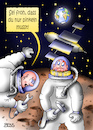 Cartoon: so ein Glück (small) by besscartoon tagged raumfahrt,mond,erde,astronaut,kosmonaut,pinkeln,iss,technik,bess,besscartoon