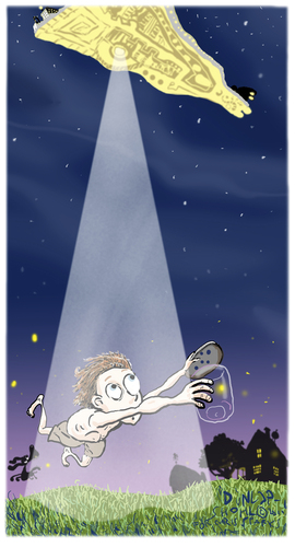 Cartoon: Abduction (medium) by Dunlap-Shohl tagged alien,abduction,boy,firefly,summer,farm,dog,spaceship