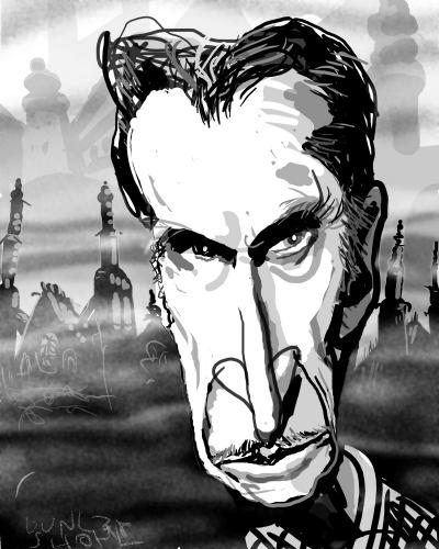Cartoon: Caricature of Vincent Price (medium) by Dunlap-Shohl tagged caricature,vincent,price,people,with,parkinsons,disease