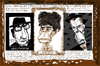 Cartoon: triptych (small) by Dunlap-Shohl tagged elvis,costello,tom,waits,lou,reed,london,1981