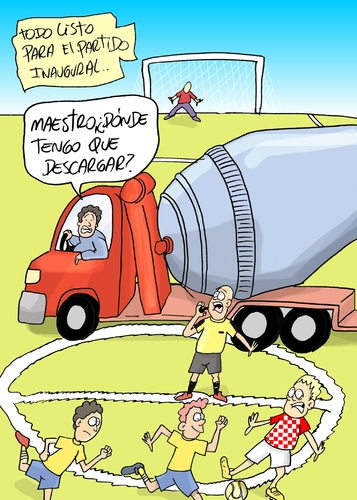 Cartoon: brazil partido inaugural (medium) by lucholuna tagged brasil,estadios