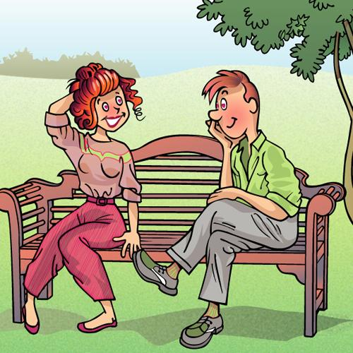 Cartoon: Lovers on a bench (medium) by Andre Verheye tagged lovers,on,bench,vectorial,illustration,cartoon,belgian