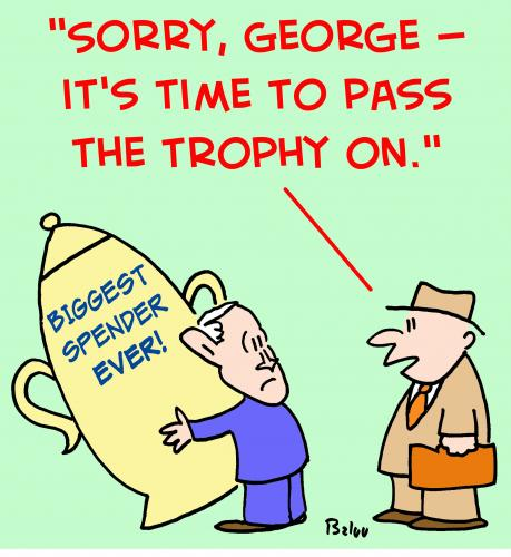 Cartoon: 1 bush obama big spender trophy (medium) by rmay tagged bush,obama,big,spender,trophy