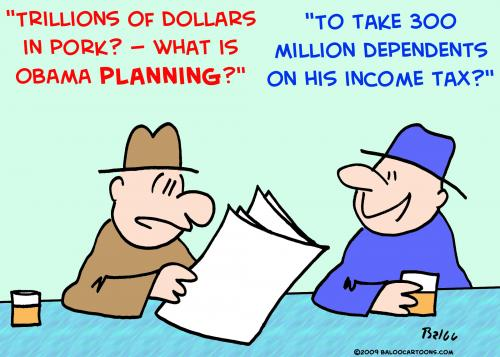 Cartoon: 1 Obama dependents income tax (medium) by rmay tagged obama,dependents,income,tax