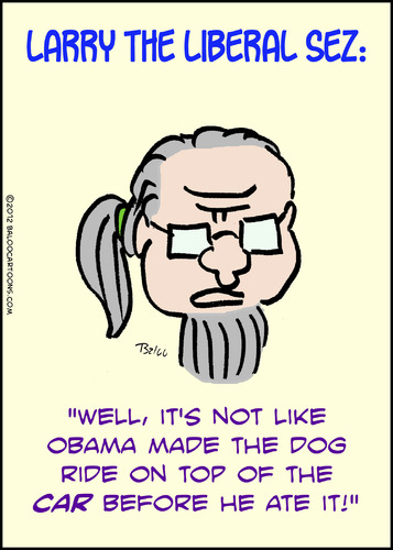 Cartoon: 1larrytheliberalsezbeforeheateit (medium) by rmay tagged romney,obama,ate,dog,car