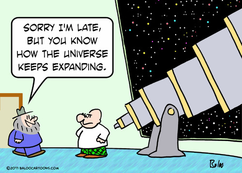 Cartoon: astronomer universe expanding (medium) by rmay tagged astronomer,universe,expanding
