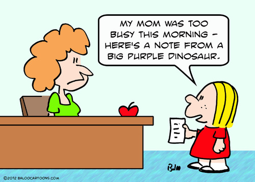 Cartoon: barney dinosaur note (medium) by rmay tagged barney,dinosaur,note