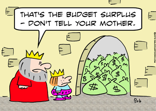 Cartoon: budget surplus king (medium) by rmay tagged budget,surplus,king