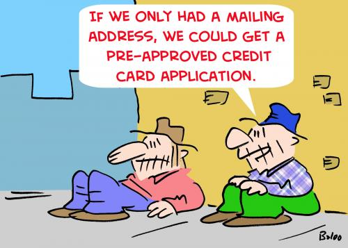 bums credit card mailing by rmay media culture cartoon toonpool