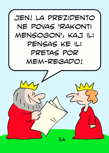 Cartoon: cannot tell lie king  esperanto (medium) by rmay tagged cannot,tell,lie,king,esperanto