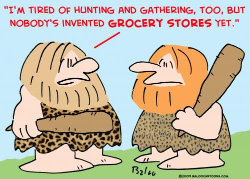 Cartoon caveman hunting gathering grocer medium by rmay tagged