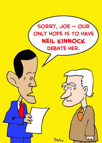 Cartoon: Debate Neil Kinnock (medium) by rmay tagged obama,palin,barack,sarah,biden,joe,neil,kinnock,debate