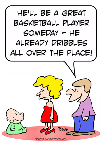 Cartoon: dribbles baby basketball player (medium) by rmay tagged dribbles,baby,basketball,player