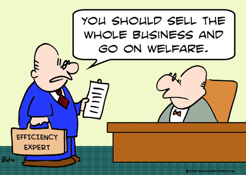 Cartoon: efficiency expert welfare (medium) by rmay tagged efficiency,expert,welfare