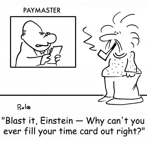 Cartoon: Einstein time card (medium) by rmay tagged einstein,time,card