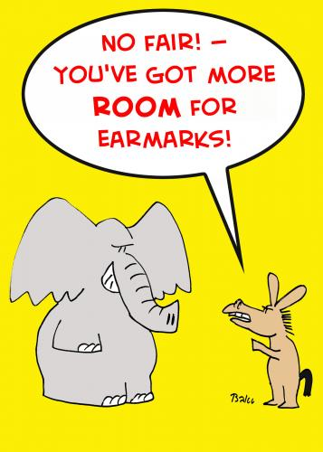 Cartoon: ELEPHANT DONKEY ROOM EARMARKS (medium) by rmay tagged elephant,donkey,room,earmarks,republican,democrat