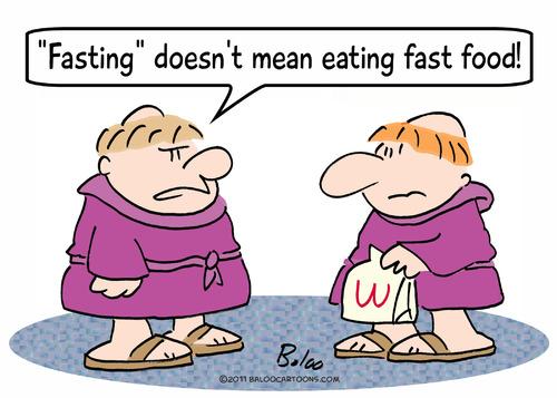 Fast Food Cartoons Fasting Eating Fast Food Monks