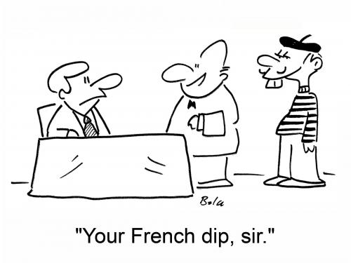 Cartoon: French dip (medium) by rmay tagged french,dip,waiter,restaurant