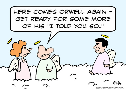 Cartoon: George Orwell heaven (medium) by rmay tagged george,orwell,heaven