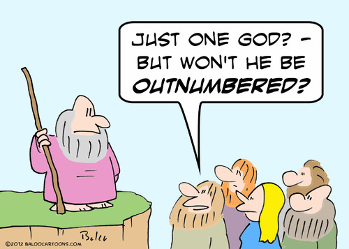 Cartoon: god one outnumbered (medium) by rmay tagged outnumbered,one,god