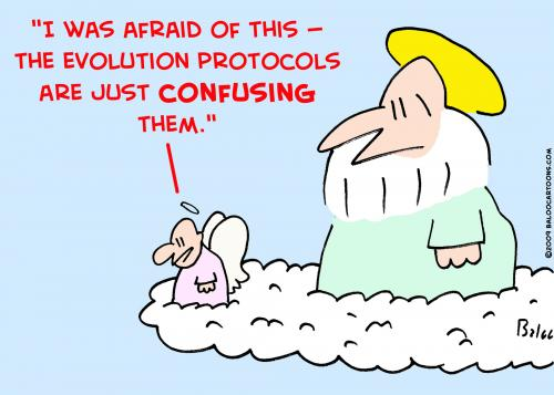 Cartoon: just confusing evolution god (medium) by rmay tagged just,confusing,evolution,god