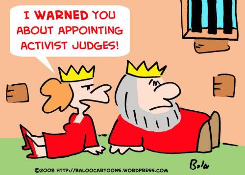 Cartoon: KING ACTIVIST JUDGES QUEEN DUNGE (medium) by rmay tagged king,activist,judges,queen,dungeon