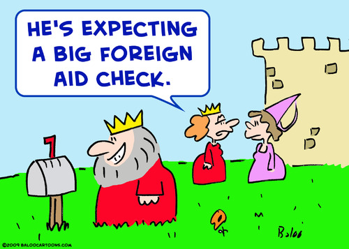 Cartoon: king big foreign aid check (medium) by rmay tagged king,big,foreign,aid,check