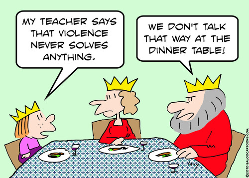 Cartoon: king violence dinner table (medium) by rmay tagged king,violence,dinner,table