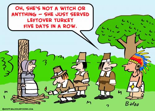 Cartoon: leftover turkey pilgrims indians (medium) by rmay tagged leftover,turkey,pilgrims,indians