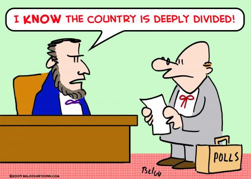 Cartoon: LINCOLN COUNTRY DEEPLY DIVIDED (medium) by rmay tagged lincoln,country,deeply,divided