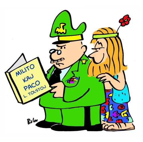 Cartoon: Milito kaj Paco (medium) by rmay tagged war,peace,esperanto