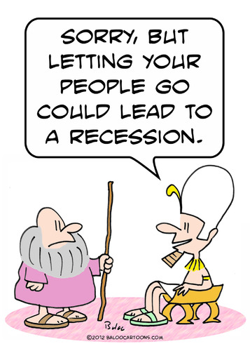 Cartoon: moses recession let people go (medium) by rmay tagged go,people,let,recession,moses