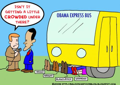 Cartoon: OBAMA UNDER THE BUS (medium) by rmay tagged obama,under,the,bus