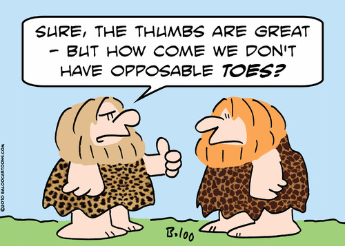 Cartoon: opposable toes caveman (medium) by rmay tagged opposable,toes,caveman