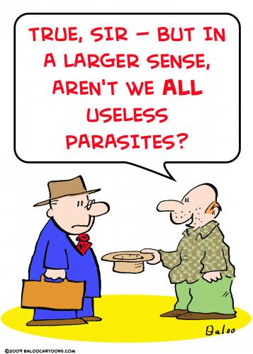 Cartoon: panhandler useless parasites (medium) by rmay tagged panhandler,useless,parasites