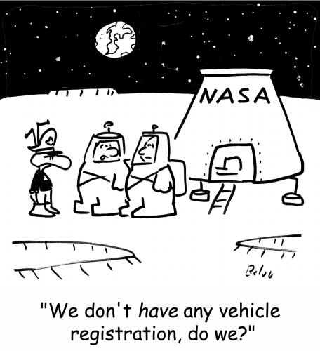 Cartoon: Vehicle registration (medium) by rmay tagged vehicle,registration,aliens,nasa