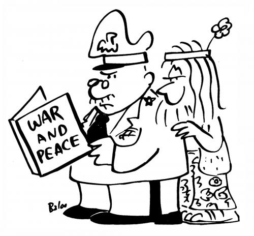 Cartoon: War and Peace (medium) by rmay tagged war,peace,general,hippie