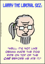 Cartoon: 1larrytheliberalsezbeforeheateit (small) by rmay tagged romney,obama,ate,dog,car