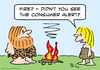 Cartoon: alert consumer fire caveman (small) by rmay tagged alert,consumer,fire,caveman