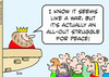 Cartoon: All Out struggle for Peace (small) by rmay tagged king,war,seems,all,out,struggle,peace