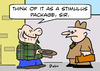 Cartoon: as a stimulus package panhandler (small) by rmay tagged as,stimulus,package,panhandler