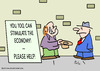 Cartoon: economy stimulate panhandler (small) by rmay tagged economy stimulate panhandler