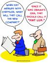 Cartoon: fiat lux chrysler merge obama (small) by rmay tagged fiat,lux,chrysler,merge,obama