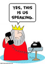 Cartoon: king yes us speaking phone (small) by rmay tagged king yes us speaking phone